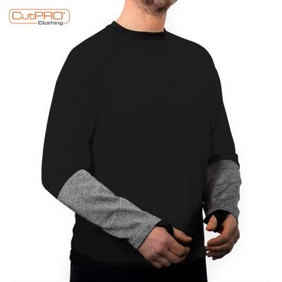 Crew Neck Shirt with Half Armguard - Black