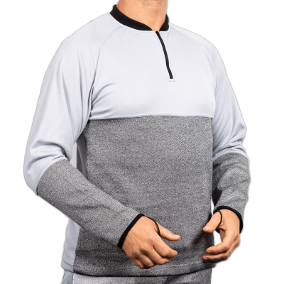 Top with Half Zip Neck and Belly Patch