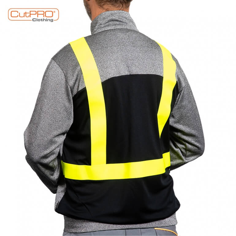 Cut Resistant Jackets Zipped with Hi Vis Tape rear