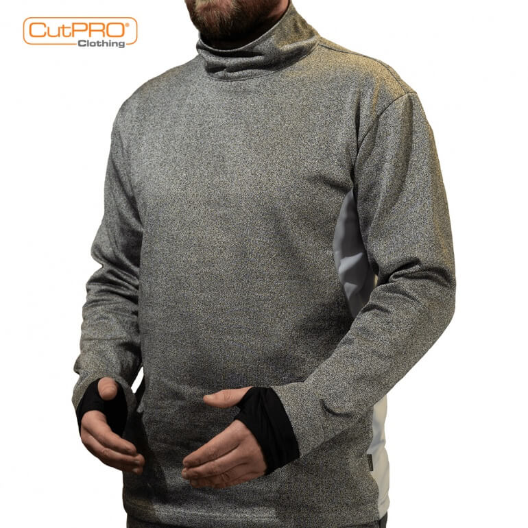 Turtleneck Top with Rear Zip, Thumbhole & Breathable Back