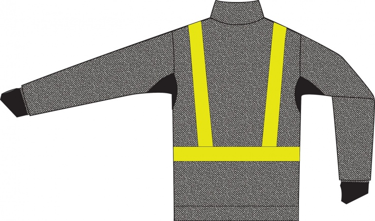 Cut Resistant Jacket Zipped - Hi-Vis Tape and Breathable Underarms Rear